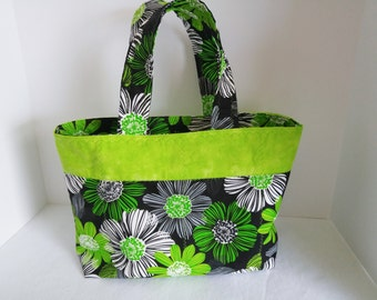 SPRING/SUMMER Tote Handbag, Quilted Tote/Handbag, Gift for Her, Beach Bag, Craft Bag, Lime Green Flowers Print, Travel