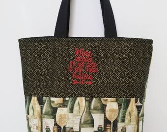 Wine Tote Bag, Machine Embroidered Design, Tote Bag, Mother's Day Gift, Gift for Her, Travel Bag, Picnic Bag, Pool Bag, Beach Bag