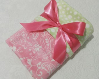 CLEARANCE SALE - NOW just 20 dollars - Ready to Ship - Minky Baby Blanket - Pink Paisley with Light Green Bubble  Dot Minky - Crib  Size