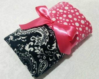 CLEARANCE SALE - NOW just 20 dollars - Ready to Ship - Minky Baby Blanket - Black Paisley with Hot Pink Bubble  Dot Minky - Crib  Size