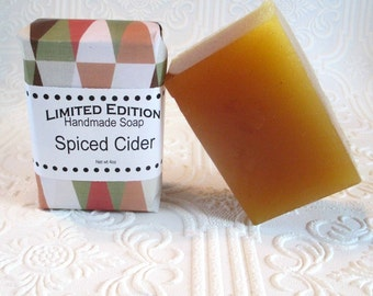 Spiced Cider Handmade Shea Soap, Gentle soap recipe, block shape, apple and cinnamon scented soap