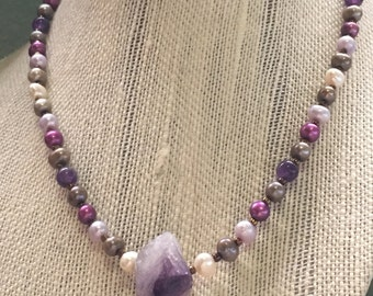 Amethyst and pearl beaded necklace, handmade necklace