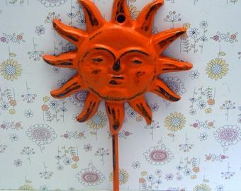 Sun Face Cast Iron Wall Hook Orange Shabby Chic Sunshine Patio Porch Pool Home Decor