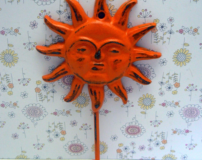 Sun Face Cast Iron Wall Hook Orange Shabby Chic Sunshine Patio Porch Pool Home Decor