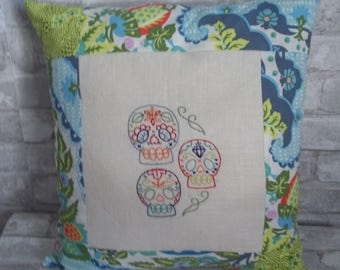 Sugar Skulls Pillow ~ Embroidered Skulls ~ Day of the Dead ~ Goth Pillow ~ 16 x 16 Pillow