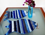 Reserved for GAYLE Fish Placemats China Blue Reversible Dinner Placemats Blue Multicolor Set of Two