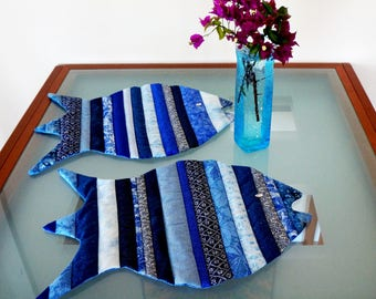Fish Placemats China Blue Reversible Dinner Placemats Blue Multicolor Set of Two