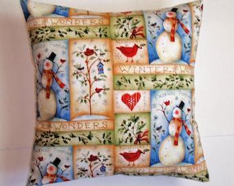 "WINTER SNOWMAN Throw Pillow Cover, Snowman Patch Pillow Cover, Cozy Winter Throw Pillow Cover, Happy Snowman & WInter Wonders, 16x16"" Square"