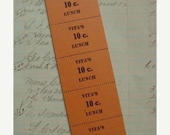 ONSALE Antique 1930s Lunch Tickets Unused Ephemera Lot