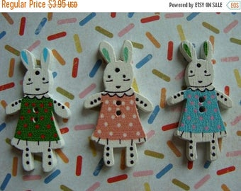 ONSALE Sweet Adorable Bunny Buttons Bunnies in Rabbit Dresses Lot