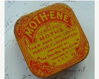ON SALE Antique Rare and Gorgeous Moth Tin with Wonderful Graphics