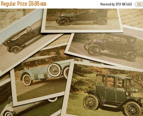 ONSALE Road Trip One Dozen Antique Automobile Flash Cards Journey 50 YR Old Cards