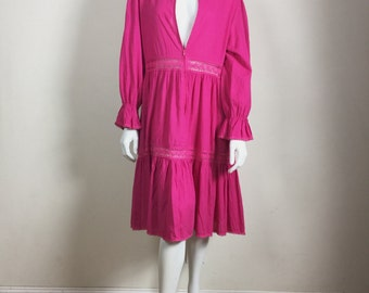 vtg  LUCIE ANN Hot Pink Ethnic Voile Lace Tiered Puff Sleeve Boho Midi Dress ML
