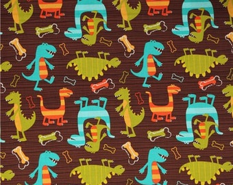 SALE FABRIC - Dino Dudes on Brown, Michael Miller Fabric, 100% Cotton Fabric, Dinosaur Fabric - Turquoise, Orange Dinosaurs - 1 yard, Washed