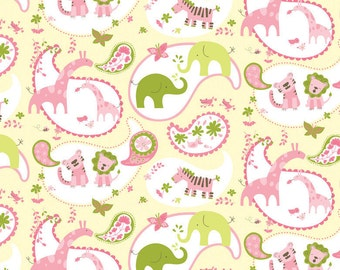 SALE FABRIC - Animal Parade by Ana Davis for Blend Fabrics - 100% Cotton - Pink, Yellow & Green Animals - Giraffes, Hippos, Elephants