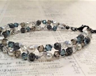 Diamond Right Angle Weave Crystal Bracelet, April Birthstone, Clear Swarovski Crystal, Woven Bead Bracelet, Stardust, Greige, Denim Blue