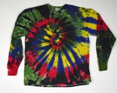 Space Out Spiral Tie Dye T-Shirt (Gildan Ultra Cotton Longsleeve Size XL) (One of a Kind)