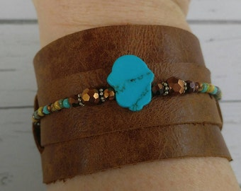 Adjustable Leather Cuff - Turquoise Hamsa Bracelet - Cuff Bracelet - Boho Cuff - Festival Look - Boho Leather Gift for Her