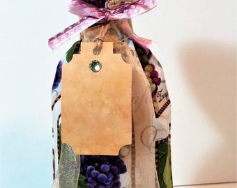 Grapes Wine Bag,White Wine, Red Wine, Bottle Bag, Gift Bag,Housewarming gift,  Special Occasion