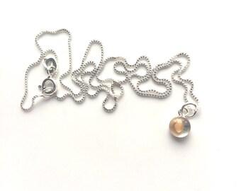 tiny mustard seed charm. teeny tiny mustard seed necklace. sterling mustard seed necklace. matthew 1720 parable scripture gift.