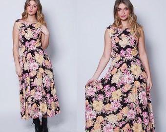 Vintage 90s CABBAGE Floral Dress SLEEVELESS Maxi Dress