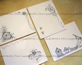 "Litchfield Hill Notepaper Stationery by Michelle L. Palmer Birds and Bee Birdhouse Nest Heart Garden 4.25"" x 5.5""  Pale Rose tone 40 pages"