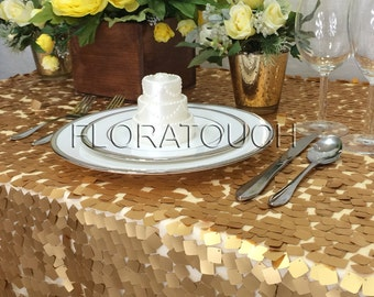 Gold Dazzle Square Sequin Tablecloth Wedding Table Overlay - other colors also available.