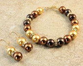 Mixed Metallic Gold Bronze and Copper Glass Pearl Wedding Bracelet and Earrings Bridesmaid Bridal