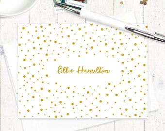 personalized stationery set - CONFETTI - set of 8 folded note cards - stationary - dots
