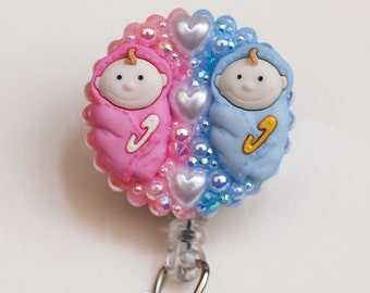 Cute Twins For A Pediatric Nurse ID Badge Reel - RN ID Badge Holder - Zipperedheart