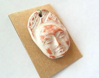 Rustic Ivory Glazed Terra Cotta Kiln Fired Face Pendant Finding