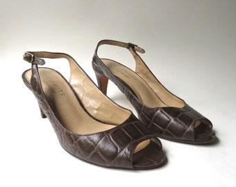 Talbots vintage Reptile Embossed Dark Brown Leather Slingback Peep Toe Pumps