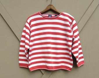 90s vintage Gap Cayenne Red and White Striped Cotton Knit Sweater / Nautical Striped Sweater