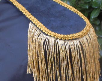 Mens Military Style Dark Blue Suede Look Epaulettes with Gold Metallic Tassle ! For the Royal Gentleman!