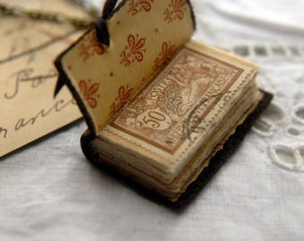 Fleur de Lis - Miniature Wearable Book, Distressed Dark Brown Leather, Tea-Stained Pages, OOAK