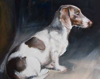 Brown and White Dachshund Sitting, Watching for Squirrels, Original Painting by Clair Hartmann