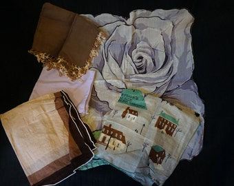 Vintage Handkerchiefs Set of 5 Tatted Edge