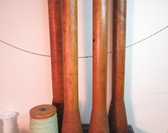 "Vintage Set Of Four Industrial Wooden Wool Textile Bobbin Spool Candlesticks 14"" Tall Door Pulls plus a small spool"