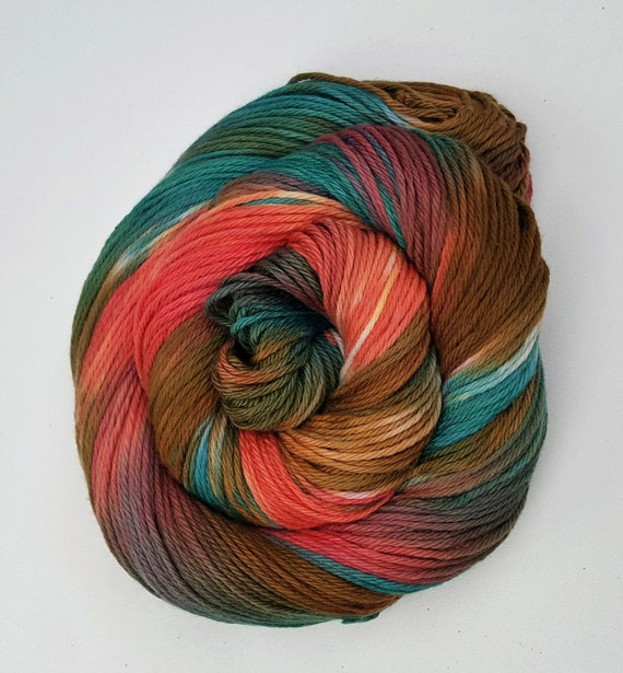 Flipping Your Fins- 100 Cotton, Hand Dyed, Worsted Weight, Hand Painted Yarn