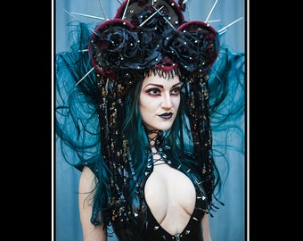 Gothic Queen... Headdress in Burgundy, Black and Pewter with Roses Jewels and Silver Spikes
