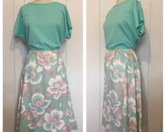 Teal Floral Dress Size 12
