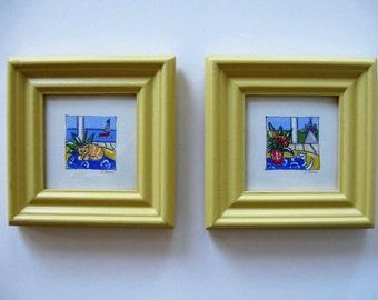 """2 Original Acrylic Paintings on canvas, still life, cat art, Eiffel tower, Yellow frame, 6 3/4"""" x 6 3/4"""", Shabby nursery decor, gift idea"""