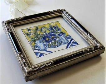 "Shabby framed still life painting, original acrylic art canvas, 5"" x 5"", French flea market, blue and yellow, hanging ribbon, gift idea"
