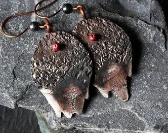 Boho Hammered Earrings, Gypsy Tribal, Bohemian Earrings, Hippie Gypsy, Rustic, Mixed Metal Earrings, Rustic Jewelry