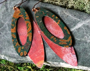 Copper Rustic Earrings, Boho Rustic Lightweight Copper Earrings, Hand Forged Copper, Simple Rustic Earrings