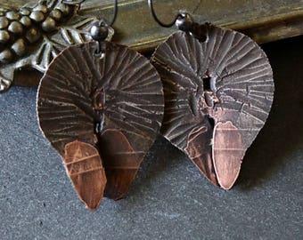 Mixed Metal Earrings, Gypsy Bohemian Handmade Earrings, Boho Rustic, Hand Forged, Hammered, Earrings, Rustic Jewelry