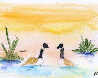 Original Watercolor ACEO Art Card, Canada Geese, Pond, Nature, OOAK Painting