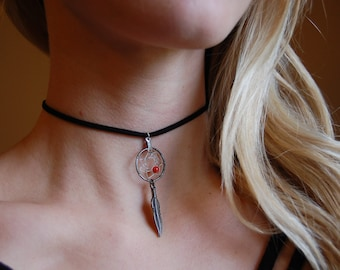 Black Suede Choker Necklace with Silver Dreamcatcher Pendant
