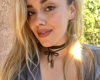 Leather and Quartz Crystal Wrap Necklace/Choker