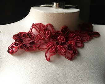 RED Beaded Applique Lace Flower in Organza for Lyrical Dance, Ballet, Costumes, Millinery CA 119